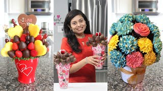 How to Make Edible Bouquet Chocolate Coated Strawberries Video Recipe | Bhavna's Kitchen
