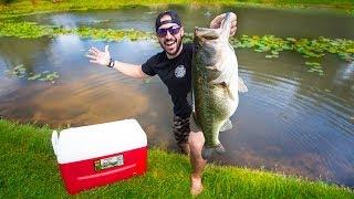 New 10 Pound PET Bass In Backyard POND!!! (Feeding Giant Bass)