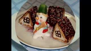 """Смотреть онлайн Десерт из творога и печенья """"Рождественские домики"""""""