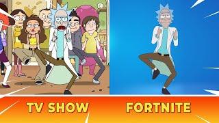 Vergelyk FORTNITE Rick Dance vs TV-program Rick Dance