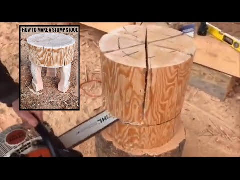Stump to stool tutorial #rusticfurniture #logbuilding #logstool #logfurniture #stihl