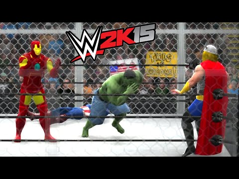 Download HULK VS AVENGERS (CAPTAIN AMERICA & THOR & IRON MAN) - WWE 2K15 HD Mp4 3GP Video and MP3