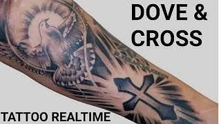How To Tattoo Dove And Cross - Real Time Tattoo!