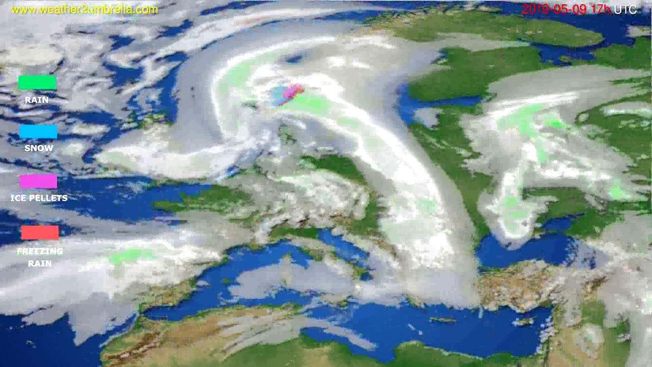 Precipitation forecast Europe // modelrun: 00h UTC 2019-05-08