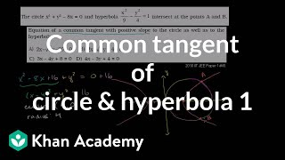 IIT JEE Circle Hyperbola Common Tangent Part 1