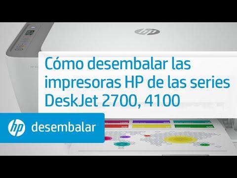 Cómo desembalar las impresoras de las series HP DeskJet 2700 y DeskJet Plus 4100