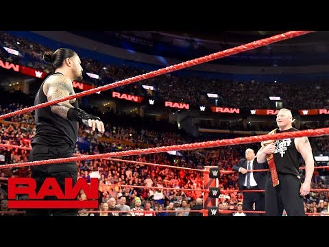 Roman Reigns and Brock Lesnar meet before the Greatest Royal Rumble event: Raw, April 23, 2018