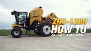How to disconnect the bale chamber from the power unit on the ZR5-1200 self-propelled baler