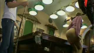 Naked and Funny. Panties in a billiard pocket