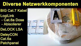Netzwerk - BIG Cat.7 Kabel, LogiLink Cat.6a Dosen & Abisolierzange,  DeLOCK LSA, DeleyCON Patchpanel
