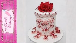 Elegant Valentine Cake Lambeth Style