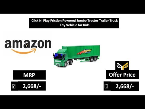 Click N' Play Friction Powered Jumbo Tractor Trailer Truck Toy Vehicle for Kids