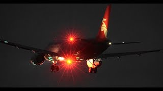 ✈✈TwilightofNarita夜の成田空港B滑走路に着陸する小型機からジャンボ迄9連続アプローチNaritaRWY16L