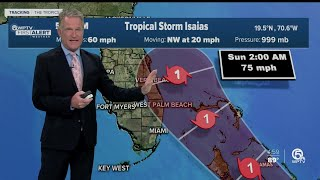 5 p.m. Thursday advisory on Tropical Storm Isaias