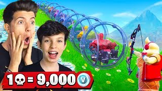 1 Elimination = 9,000 VBucks W My 13 Year Old Little Brother (Fortnite Challenge)