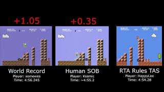 Old WR vs. Sum of Best vs. RTA Rules TAS (Super Mario Bros. any%)