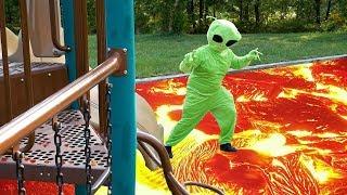 Alien Lava Monster at the Playground - The Floor is Lava Skit - weeefamfun