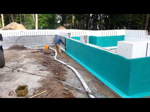 This video shows Rub-R-Wall Waterproofing being installed on a Insulated Concrete Form (ICF) Foundation.