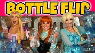 Messy Bottle Flip Challenge Elsa vs Anna vs Rapunzel? Totally TV Dress Up Characters.