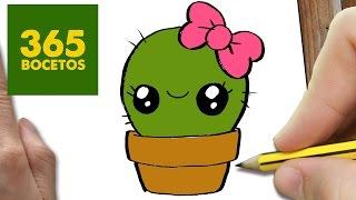 COMO DIBUJAR UN CACTUS KAWAII PASO A PASO - Dibujos kawaii faciles - How to draw a cactus