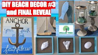 🌞🌞DIY DOLLAR TREE FARMHOUSE BEACH HOME DECOR🌞🌞 | FINAL MAKEOVER REVEAL | NAUTICAL COASTAL DECOR