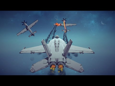 Dogfight! Jet Fighter vs Two Prop Fighters + Other Awesome Combat Destruction   Besiege
