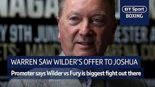 Frank Warren: I saw Wilder's offer to Joshua...AJ didn't fancy it! Fury vs Wilder will happen - Video Youtube
