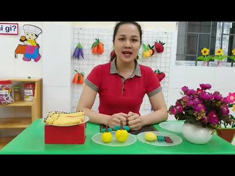 Hướng dẫn bài: Nặn quả cam do cô Nguyễn Thị Dung giáo viên khối 3 tuổi thực hiện