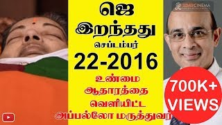 Jayalalitha Died On Sep 22nd 2016 – Apollo Doctor Finally Reveals The Truth  2DAYCINEMACOM