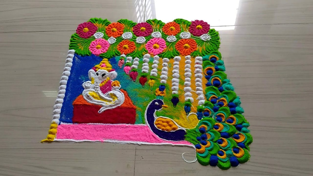 ganesh chathurthi rangoli design with colours