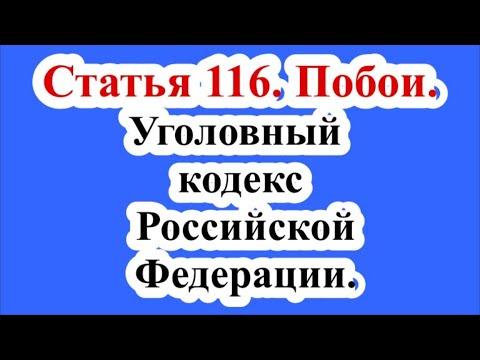 Статья 116. Побои. Уголовный кодекс Российской Федерации.