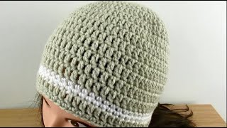 Crochet Beanie Hat Simple Basic For LADIES - MENS Size 22-24 - Tutorial  Happy Crochet Club.