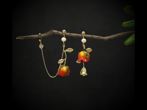 Golden Age - Real Flower Dangle Earrings with Ear Cuff