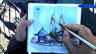 Urban Sketching In Lisbon - Kiosk And Cranes