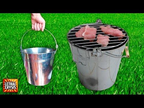 Cómo hacer una Barbacoa Portátil en un Cubo | Bucket BBQ
