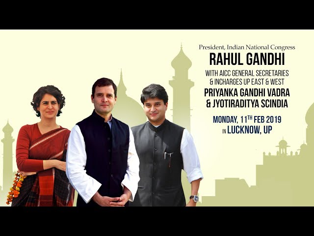 Live: Priyanka, Rahul begin roadshow in Lucknow; Congress posters cover the city