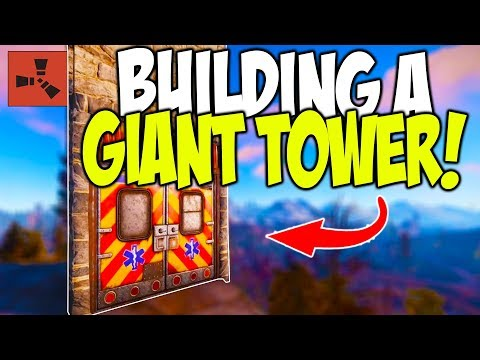 EXPANDING my ROCK BASE with a GIANT TOWER! - Rust Solo Survival