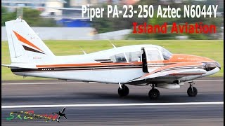 Piper PA-23-250 Aztec N6044Y taxi and departure from St. Kitts Airport !!!