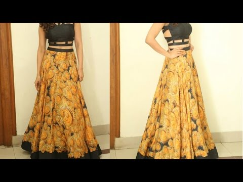 Anarkali long skirt DIY | Anarkali skirt drafting, cutting and stitching step by step tutorial