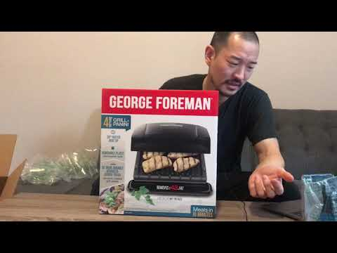 , George Foreman 4-Serving Removable Plate Grill and Panini Press, Red, GRP360R