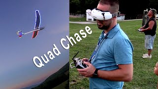 Eflite Night Radian XL 2.6M Glider Chased by FPV Freestyle Mini Quad Pilot