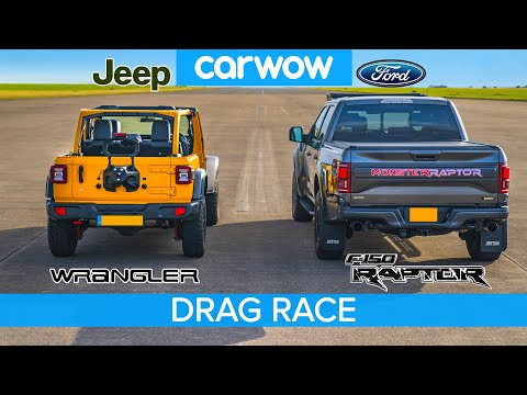 Ford F150 Raptor vs Jeep Wrangler – DRAG RACE, ROLLING RACE & BRAKE TEST