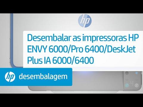 Desembalar as impressoras das séries HP ENVY 6000/ENVY Pro 6400/DeskJet Plus Ink Advantage 6000/6400