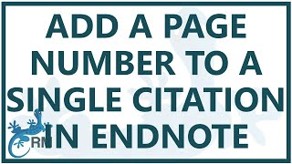 Endnote citation: how to add a page number to a single citation using Endnote