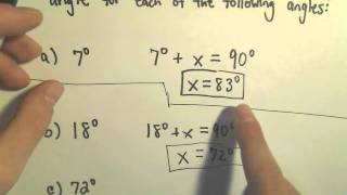 Complementary And Supplementary Angles - Example 1