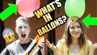 WHAT'S IN A BALLONS CHALLENGE W NERF ! Quiz Show
