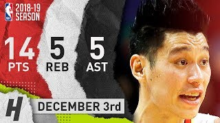 Jeremy Lin Full Highlights Hawks vs Warriors 2018.12.03 - 14 Pts, 5 Ast, 5 Rebounds!