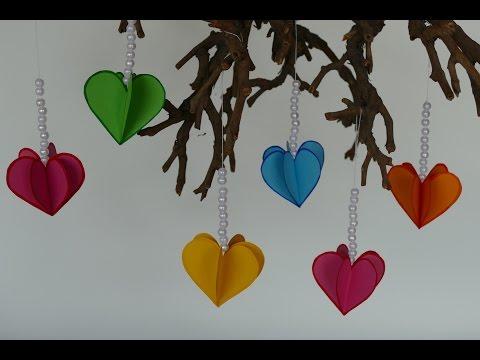Herz – Anhänger aus Papier, Muttertag, Valentinstag, Geburtstag, Hochzeit