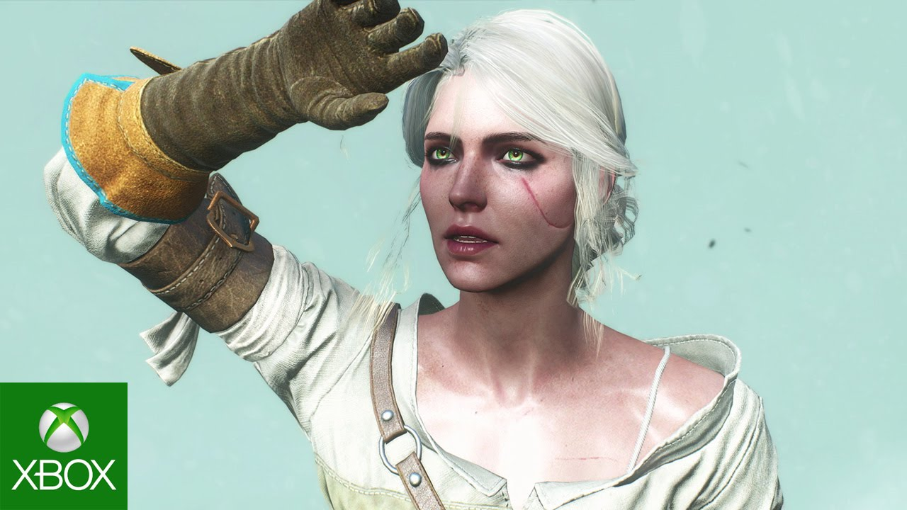 Head shot of Ciri holding her hand up to block the sun