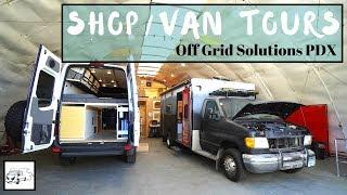 Shop/Van Tours - DIYers Dream for Off Grid Living